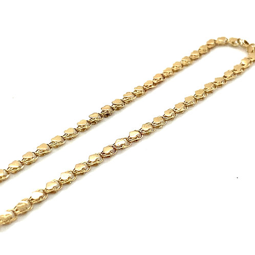 """Heart Shaped Anklet Handcrafted 10k Yellow Gold 3mm Can Go Up To 10"""""""