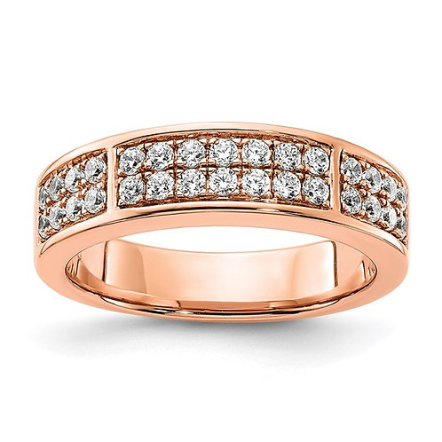 Lovely 14k Rose Gold & Two Row Pave Diamond Wedding Band 0.52ct 5.5mm