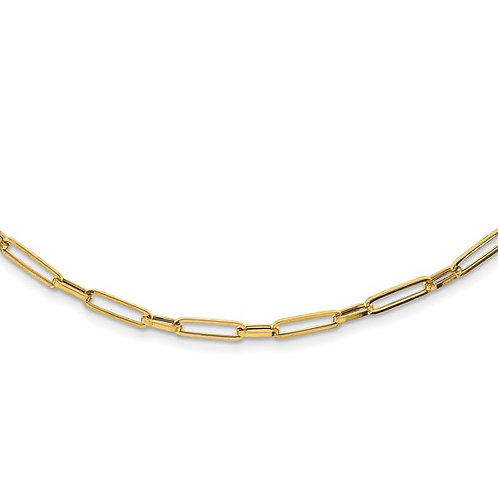 """14k Polished Oval Link Necklace 4mm Measures 24"""" Italian Made GORGEOUS PIECE!"""