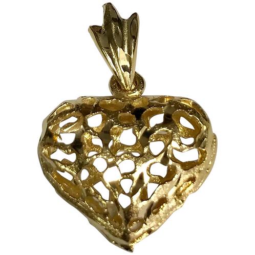 14 K Yellow Gold Filigree Heart Pendant