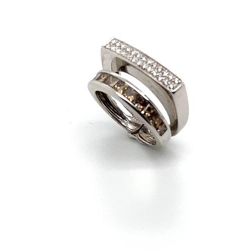 Beautiful Double Ring with IGI Certified Diamonds 18K White Gold