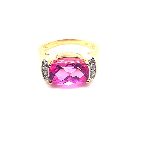Gorgeous Sapphire Ring Set in Handcrafted 10k Yellow Gold Pink Bling!