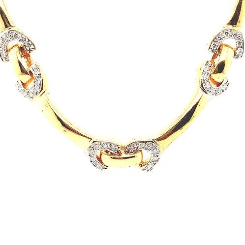 Beautiful 14K Gold 2.90 Carats Diamond Link Necklace