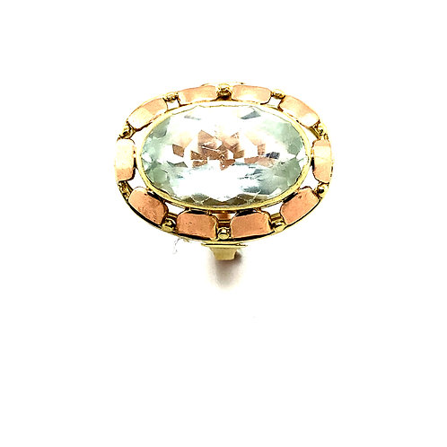 Vintage Absolutely Stunning Huge Aquamarine 5ct Two Tone 14k Gold Ring BLING!