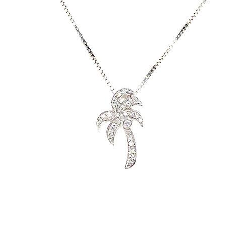 Beautiful 14K White Diamond Gold Palm Tree Pendant Necklace
