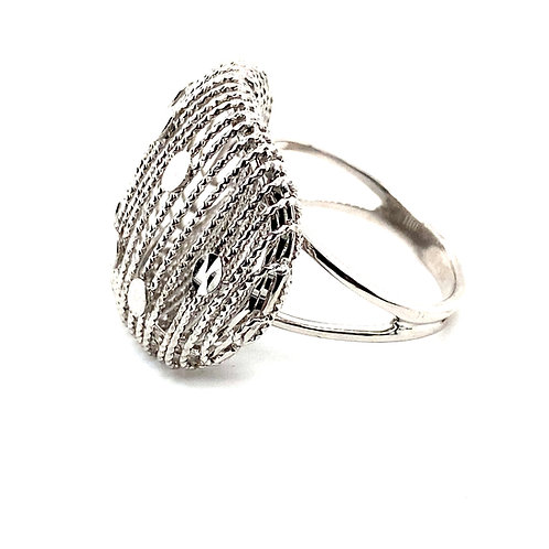 Beautiful Raised Mesh Design Square Cocktail Ring 14k White Gold