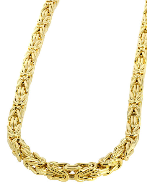 """Statement Necklace Chain 24"""" Italian Byzantine Handcrafted 14k Yellow Gold"""