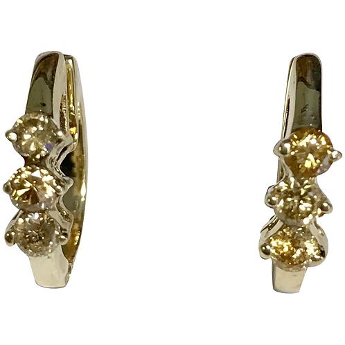 14 K Yellow Gold 0.30 CTW Yellow Diamond Hoop Earrings