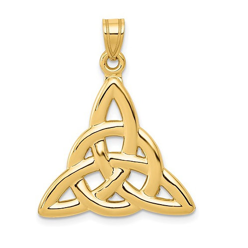 14k Polished Yellow Gold Trinity Knot Charm Pendant GORGEOUS!