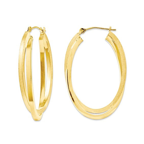 Gorgeous Handcrafted 14K Yellow Gold Satin & Polished Oval Hoop Earrings NICE!