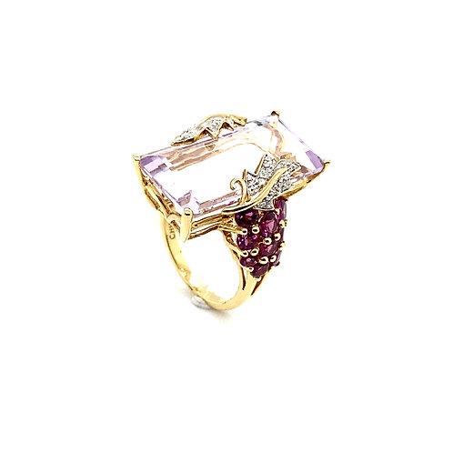 Unique 14K Gold Huge Amethyst Vine Design Ring