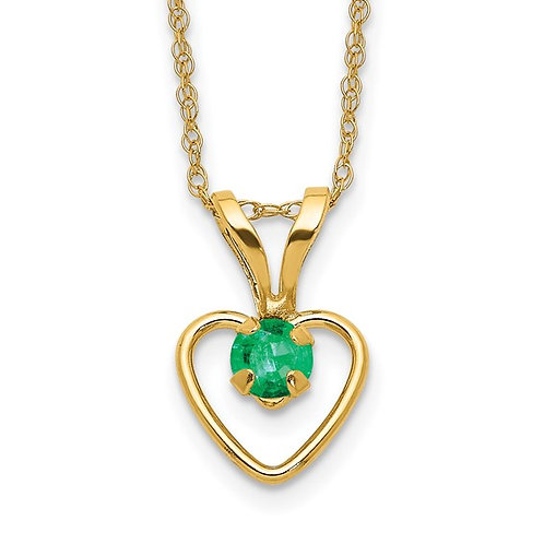 Handcrafted 14k Yellow Gold Heart Birthstone Rope Necklace & Pendant