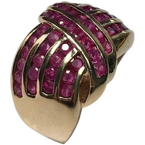 10 k Yellow Gold 1.00 Ct Ruby Wide band