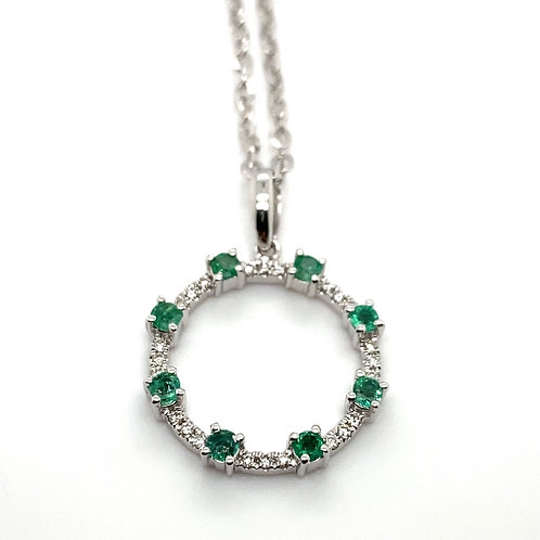 Stunning 14K White Gold Diamond and Emerald 22in Necklace