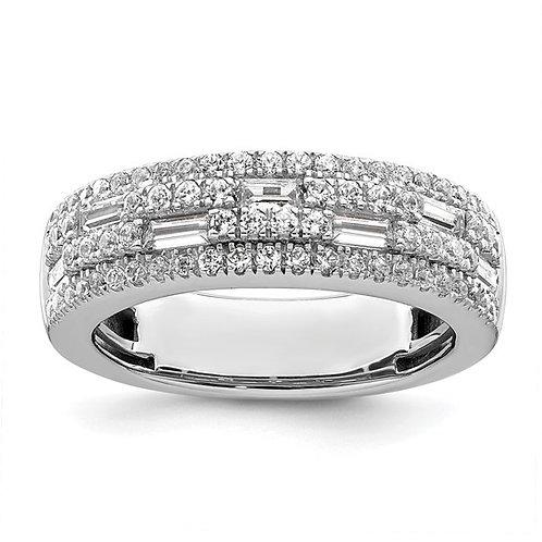 Spectacular Women's 14k White Gold & Diamond Wedding Band 1ct