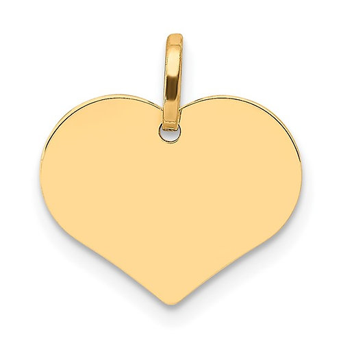Handcrafted 14K Polished Heart Shaped Disc Pendant Engrave!