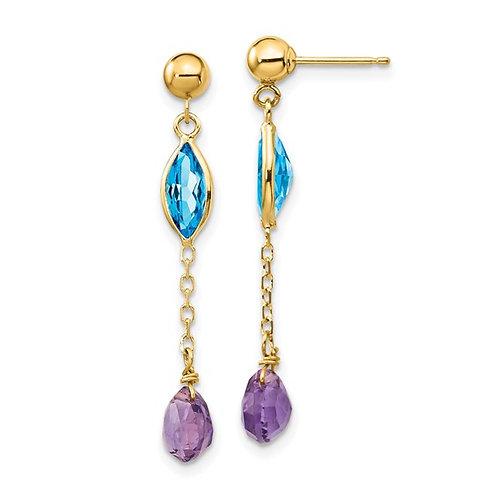 14k Yellow Gold Amethyst & Swiss Blue Topaz Post Drop Dangle Earrings GORGEOUS!