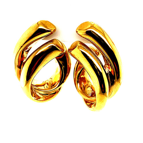 Beautiful Swirl Design Drop Earrings Sophisticated Handcrafted 14k Yellow Gold
