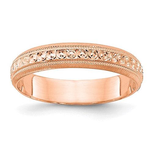 Women's Beautiful 14K Rose Gold Polished Etched Design Wedding Band 3mm