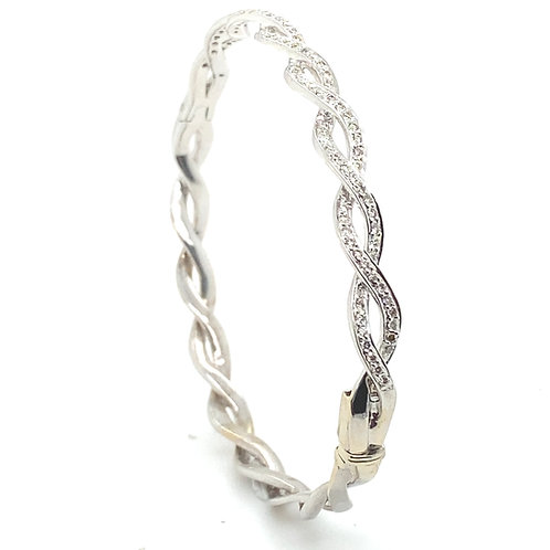 Stunning 14K White Gold 0.50 Carats Diamond Bangle Bracelet