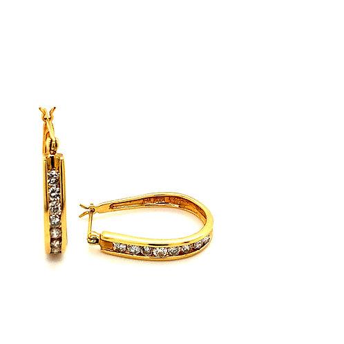 EGL Certified 0.96ct Diamond Drop Earrings Handcrafted 14k Yellow Gold