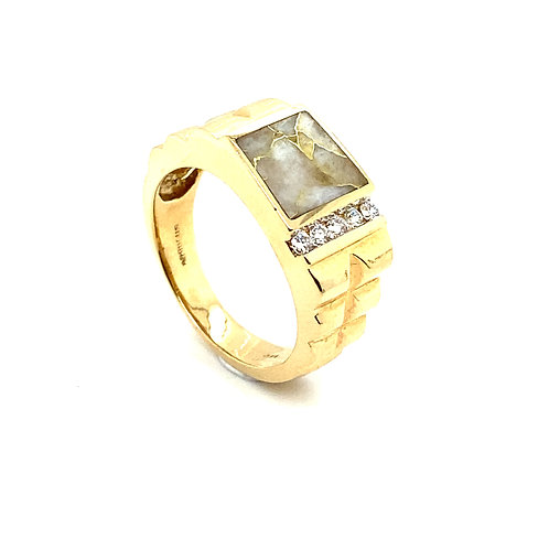 Stunning Men's 14K Solid Gold 0.20 Carats Diamond and Stone Ring