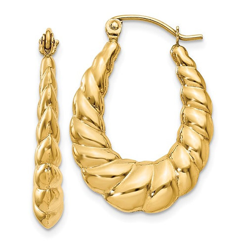 Beautiful Handcrafted 14K Yellow Polished Gold Twisted Hoop Earrings GORGEOUS!