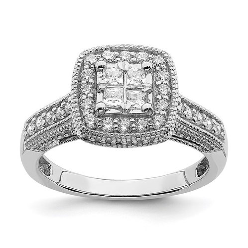 GORGEOUS! 14k White Gold & Diamond 0.6ct Engagement Ring Weighs 4.4g