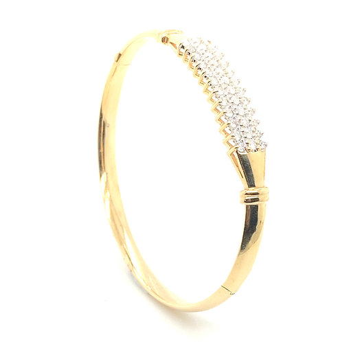 Elegant Women's 14K Gold 1 Carat Diamond Bangle Bracelet