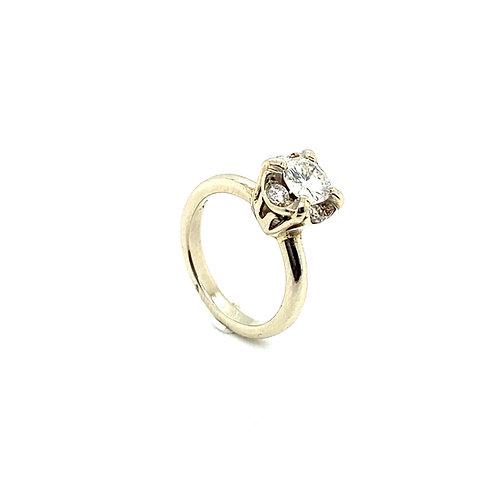 Stunning 14K White Gold IGI Certified SI-1 G 0.91 Carats Diamond Engagement Ring