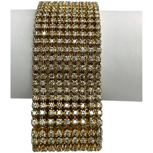 14 K Yellow Gold 18.04 CTW 9 Row Diamond Bracelet ~ IGI Cert