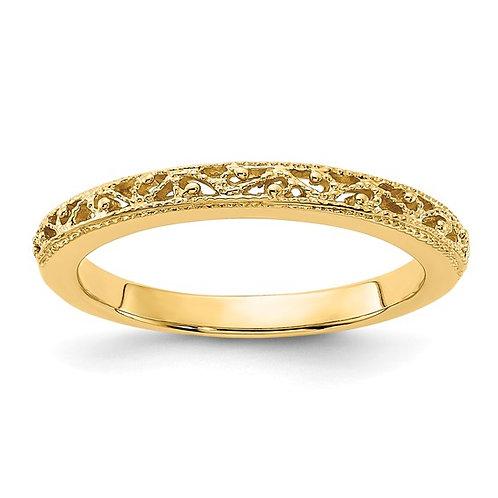 Women's Handcrafted 14k Yellow Gold Filigree Wedding Band 3mm