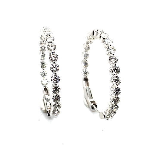 Beautiful Certified 5ct Diamond & 18k White Gold Loop Round Earrings GORGEOUS!