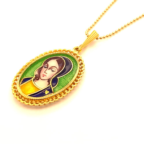 Beautiful Colorful Unique Mother of Mary Pendant and Necklace Handcrafted 18k