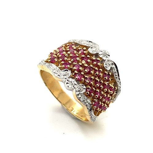 GORGEOUS! Pink Ruby & Diamond Gemstone Statement Ring Set in 14K Yellow Gold