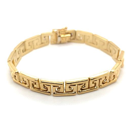 Stunning Greek Key Fancy Link Handcrafted 10K Solid Gold Bracelet