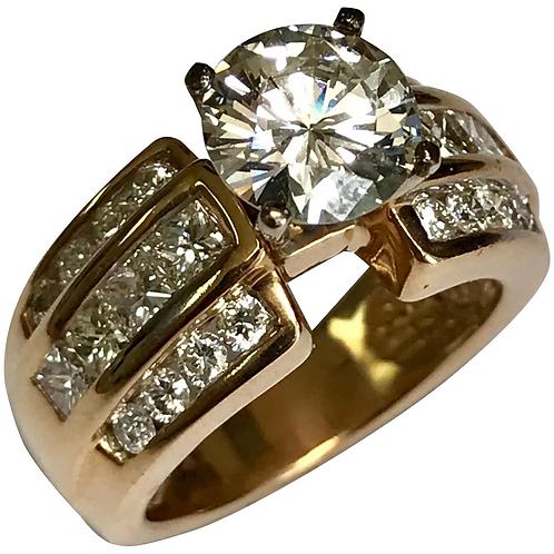 14 K Yellow Gold 3.03 CTW Diamond Engagement Ring ~ IGI Cert