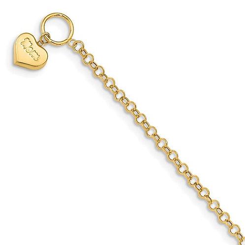 "14k Puffed MOM Heart Toggle Bracelet Measures 7.5"" Perfect Gift Idea!"