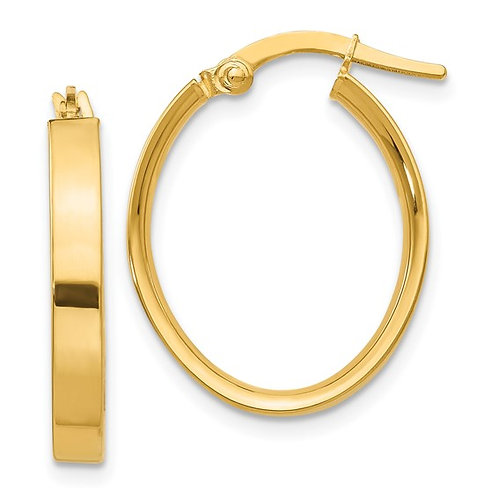 Gorgeous Handcrafted 14K Yellow Gold Oval Hoop Earrings