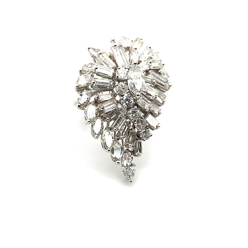 Stunning IGI Certified 6.13 Carats of Diamonds and 14K White Gold Cluster Ring