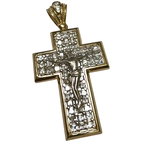 10 K Yellow/White Gold Simulated Princess Cut Diamond Three Dimensional Crucifix