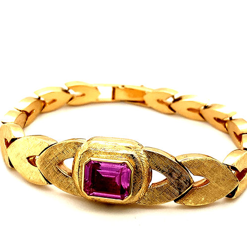 "Vintage Satin Finish 3ct Sapphire 14k Gold Fancy Thick Link Bracelet Measures 7"""