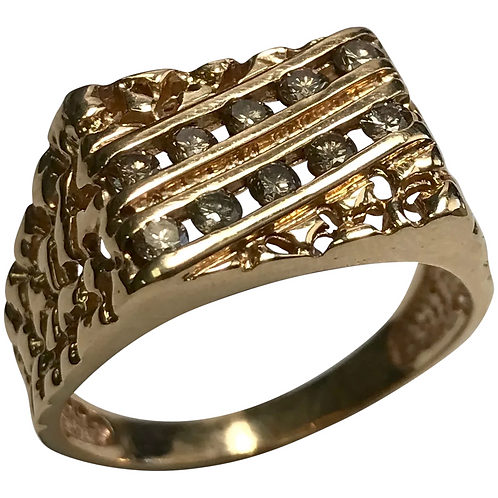 14 K Yellow Gold Nugget Style Champagne Diamond Ring