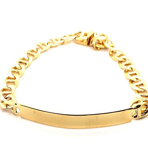 """Men's Flat Mariner Link 7.5mm Handcrafted 14K Gold ID Bracelet Measures 9"""""""