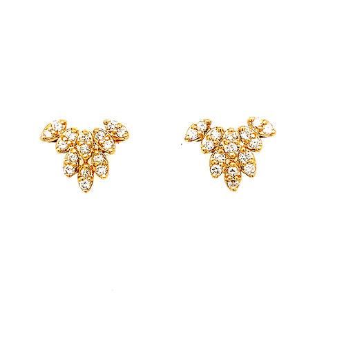 "Lots of BLing! .30ct Diamond & 14k Gold Earrings Measure .5"" Gorgeous!"