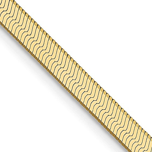 """14k Silky Gold Herringbone Necklace 3mm Measures 16"""" 5.2g Gorgeous Piece!"""