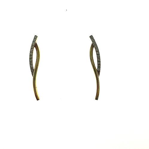 GORGEOUS Handcrafted 14K Yellow Gold & Diamond Drop Earrings Slim Sleek Classy