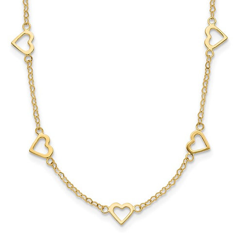 """Beautiful 14k Yellow Gold Heart Link Necklace w/ Open Hearts Throughout 18"""""""