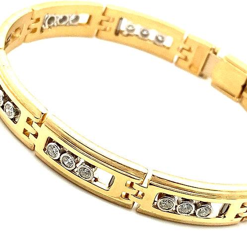 "Statement Piece! Massive Gold Bracelet 11mm 2.5ct Diamonds Measures 8 3/4"" NICE!"