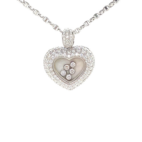 Stunning 18K White Gold 2 Carat Diamond Heart Pendant Necklace